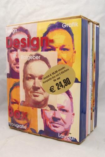 Handgearbeitete Design-Box mit fünf Design-Büchern